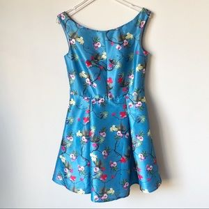 eShakti Blue Floral Print Dupioni Dress